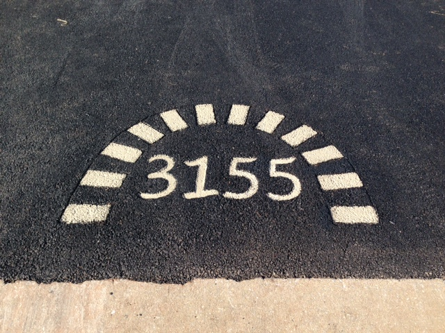 House Numbers in the driveway in Dover PA.